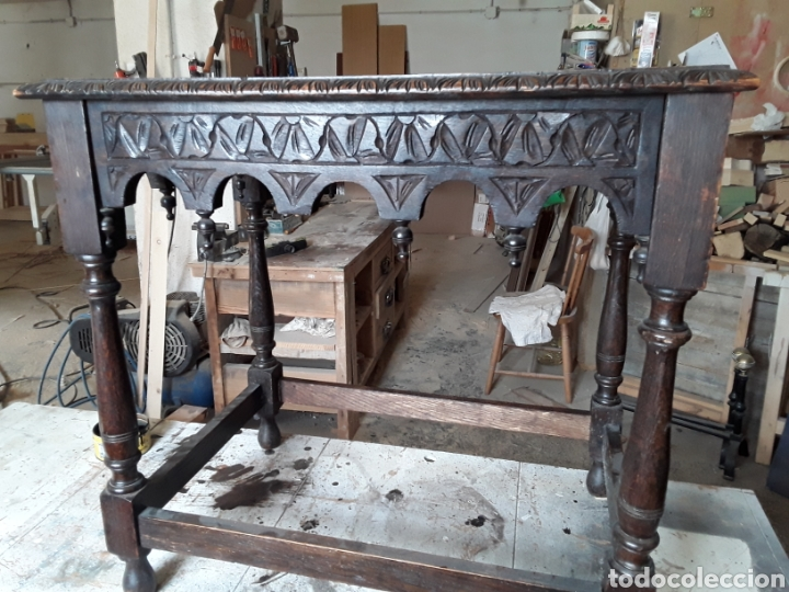 MESA AUXILIAR DE ROBLE (Antigüedades - Muebles Antiguos - Mesas Antiguas)