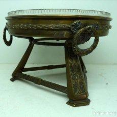 Antigüedades: CENTRO DE MESA ART-DECO BRONCE Y CRISTAL. Lote 175128703
