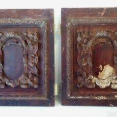 Antigüedades: PAREJA DE PUERTAS BARROCAS VALENCIANAS TALLADAS A MANO EN MADERA DE PINO. S. XVI / XVII. Lote 175144367