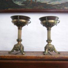 Antigüedades: IMPORTANTE PAREJA DE LAMPARAS PALACIEGAS DE ACEITE EN BRONCE - S.XIX FRANCIA - FLOR DE LIS. Lote 175149032