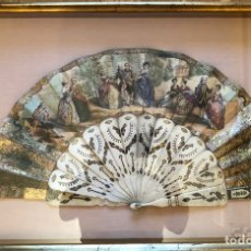Antigüedades: ANTIGUO ABANICO ISABELINO, EN ABANIQUERA. Lote 175201628