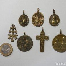 Antigüedades: INTERESANTE LOTE COLECCION DE 7 MEDALLAS DE BRONCE ANTIGUAS, S.XVI - XVIII. Lote 175201640
