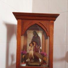 Antigüedades: PRECIOSA Y ANTIGUA HORNACINA CON SAN JOSÉ Y EL NIÑO JESÚS POR FAVOR LEER DESCRIPCIÓN. Lote 175207887
