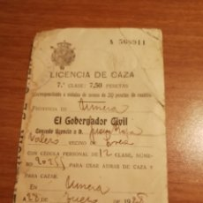 Antigüedades: LICENCIA CAZA 1928. Lote 175238747