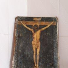 Antigüedades: POR FAVOR LEER ENUNCIADO ANTIGUA LITOGRAFÍA DE JESÚS CRUCIFICADO AFIANZADA SOBRE LIENZO. Lote 219208555