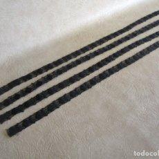 Antigüedades: LOTE 4 CINTAS RIBETE BORDADO FINALES SIGLO XIX NEGRO. Lote 47060597