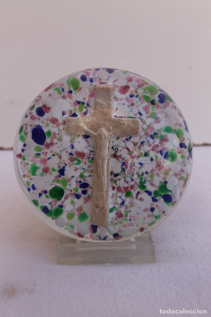 Antigüedades: PISAPAPELES DE CRISTAL SANTA LUCIA SIGLO XIX - Foto 3 - 175347607
