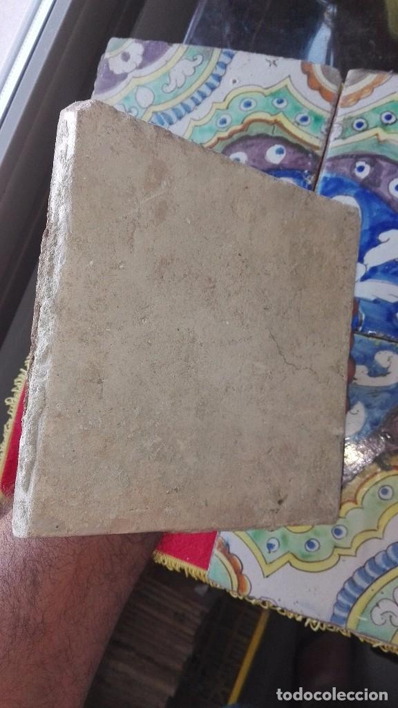 Antigüedades: 4 azulejos de barro.siglo XVIII. - Foto 2 - 175329022