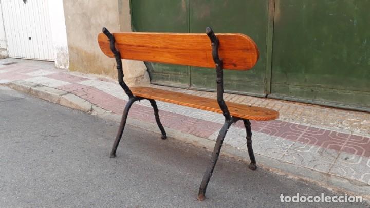 Antigüedades: Banco de madera y hierro forjado antiguo. Banco antiguo de terraza jardín vintage. - Foto 11 - 175368110