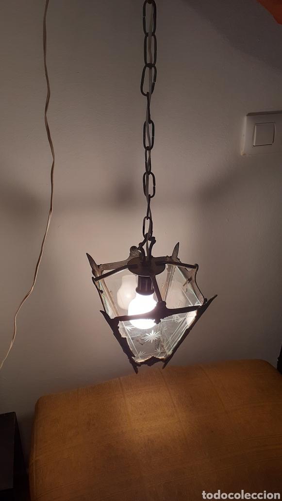 Antigüedades: LAMPARA FAROL. VIDRIO Y BRONCE. ORIGINAL AÑOS 40. - Foto 3 - 175392669