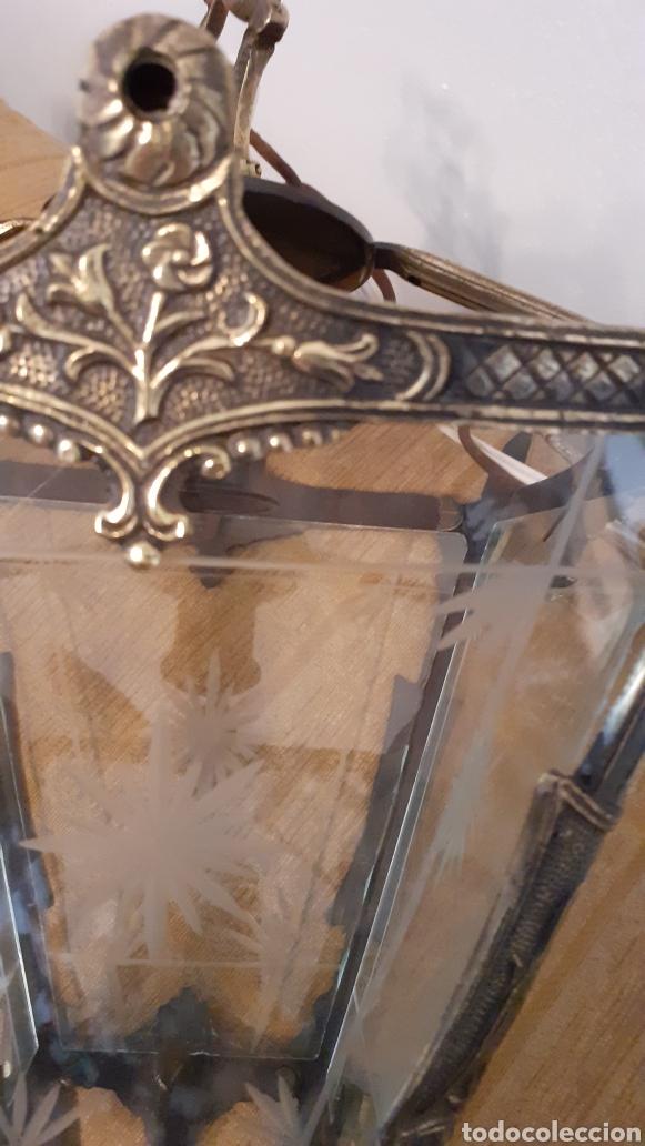 Antigüedades: LAMPARA FAROL. VIDRIO Y BRONCE. ORIGINAL AÑOS 40. - Foto 5 - 175392669