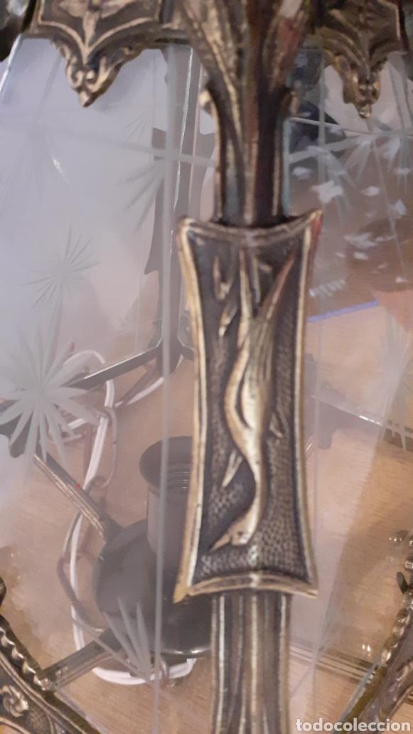 Antigüedades: LAMPARA FAROL. VIDRIO Y BRONCE. ORIGINAL AÑOS 40. - Foto 7 - 175392669