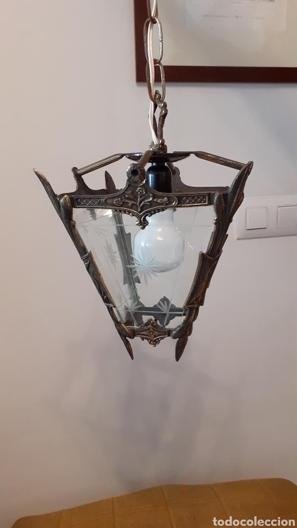 LAMPARA FAROL. VIDRIO Y BRONCE. ORIGINAL AÑOS 40. (Antigüedades - Iluminación - Faroles Antiguos)