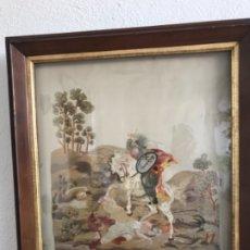 Antigüedades: TAPIZ PINTADO Y BORDADO A MANO DE SAN JAIME APÓSTOL MEDIADOS DEL S.XIX. . Lote 175402460