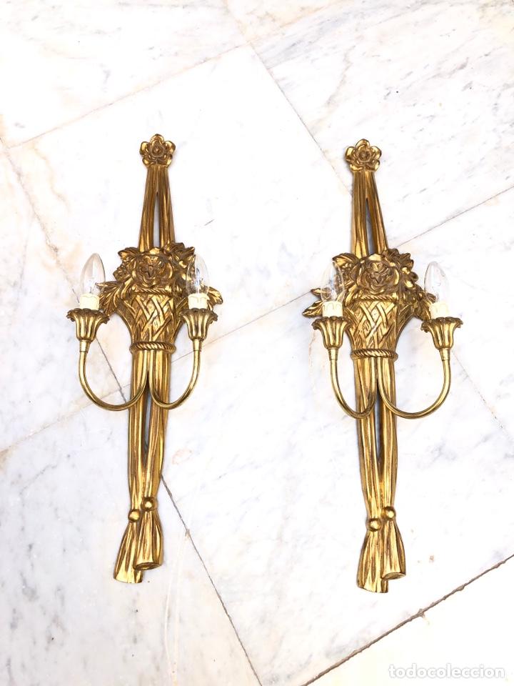 Antigüedades: Pareja de apliques, 73 cm. Dorados oro fino - Foto 2 - 175405705