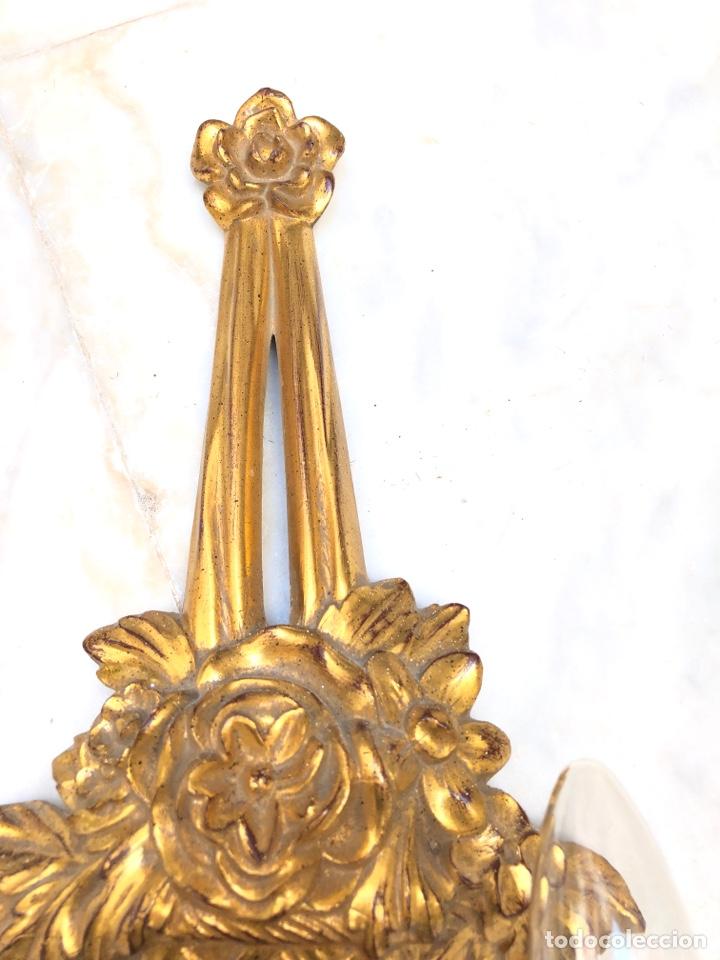 Antigüedades: Pareja de apliques, 73 cm. Dorados oro fino - Foto 7 - 175405705