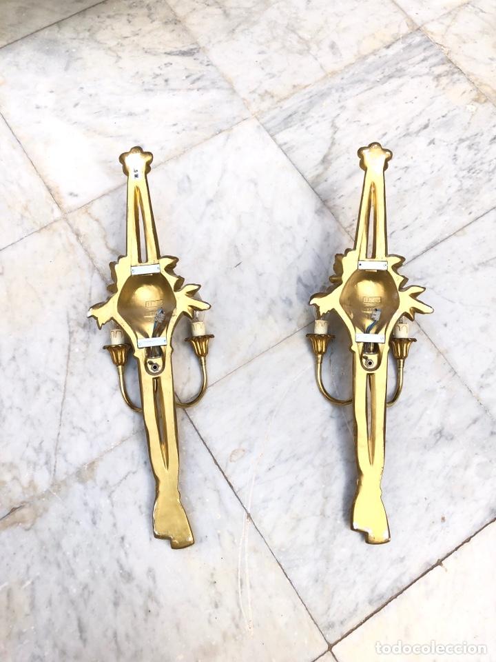Antigüedades: Pareja de apliques, 73 cm. Dorados oro fino - Foto 10 - 175405705