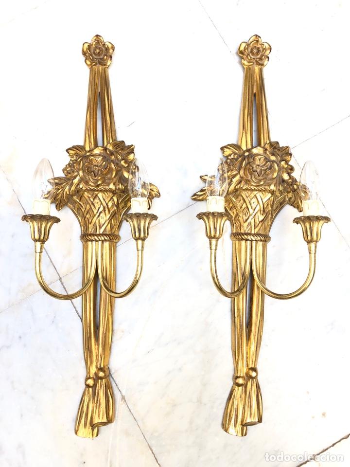 PAREJA DE APLIQUES, 73 CM. DORADOS ORO FINO (Antigüedades - Iluminación - Apliques Antiguos)