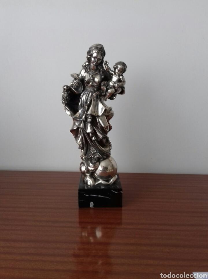 BONITA VIRGEN CON NIÑO PLATA DE LEY AUTENTICA 925 GRAN TAMAÑO (Antigüedades - Religiosas - Orfebrería Antigua)