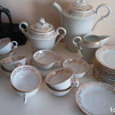 Antigüedades: JUEGO DE CAFE PORCELANA LIMOGES CON FILO DE ORO. Lote 175412068
