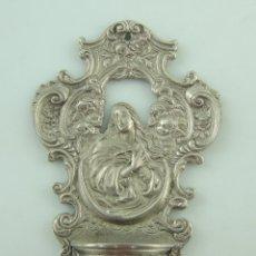 Antigüedades: BENDITERA AGUABENDITERA DE METAL DECORACION RELIGIOSA. Lote 175413277