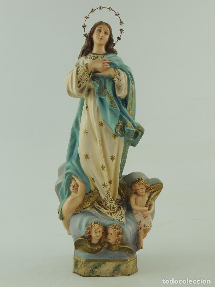 Antigüedades: ANTIGUA FIGURA OLOT INMACULADA CONCEPCION SELLADA ESCELENTE DECORACION RELIGIOS - Foto 2 - 175414788