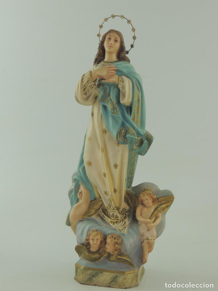Antigüedades: ANTIGUA FIGURA OLOT INMACULADA CONCEPCION SELLADA ESCELENTE DECORACION RELIGIOS - Foto 3 - 175414788