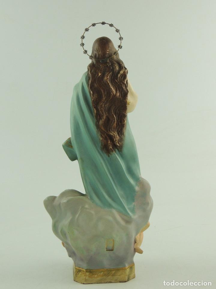 Antigüedades: ANTIGUA FIGURA OLOT INMACULADA CONCEPCION SELLADA ESCELENTE DECORACION RELIGIOS - Foto 7 - 175414788