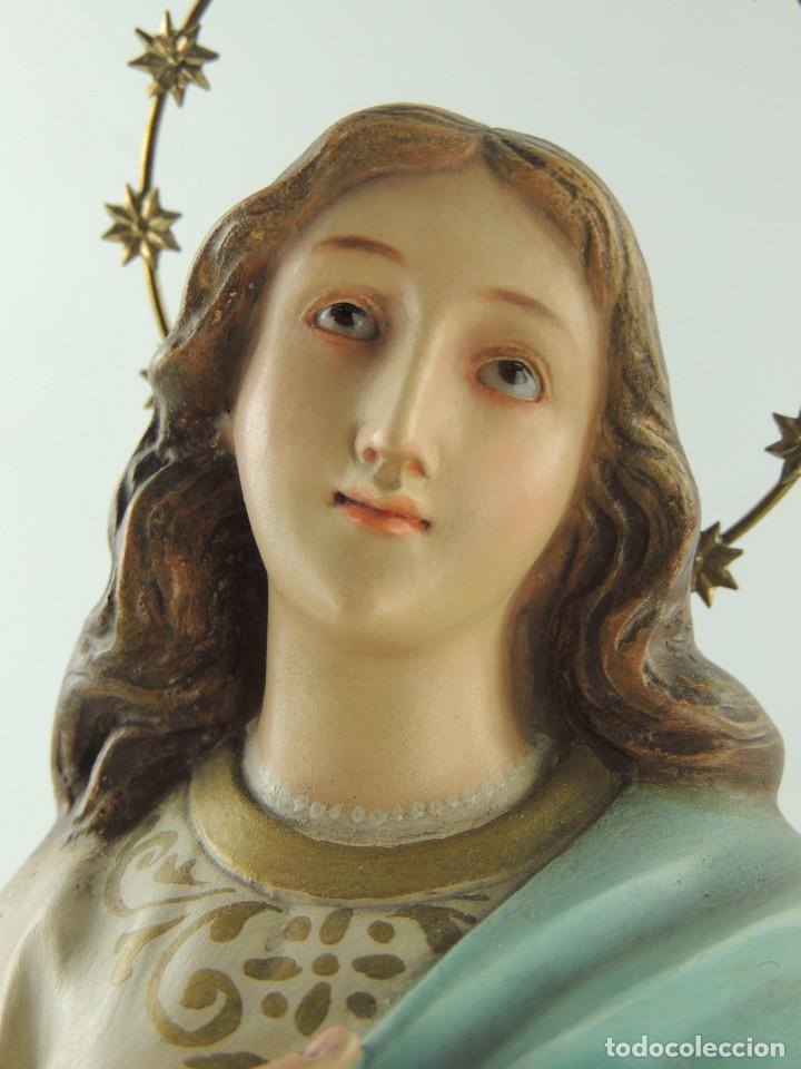 Antigüedades: ANTIGUA FIGURA OLOT INMACULADA CONCEPCION SELLADA ESCELENTE DECORACION RELIGIOS - Foto 13 - 175414788