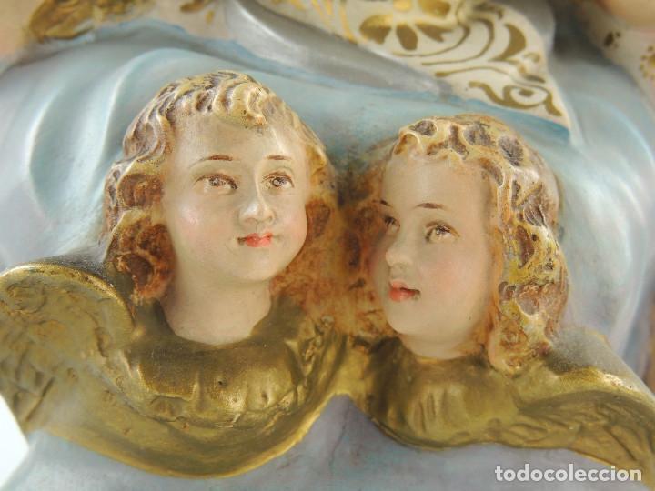 Antigüedades: ANTIGUA FIGURA OLOT INMACULADA CONCEPCION SELLADA ESCELENTE DECORACION RELIGIOS - Foto 18 - 175414788