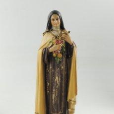 Antigüedades: ANTIGUA FIGURA OLOT SANTA CON FLORES SELLADA ESCELENTE DECORACION RELIGIOS - PARA RESTAURAR. Lote 175415072