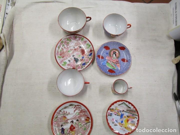JAPON - CONJUNTO 4 POCILLOS TAZAS Y PLATOS PORCELANA OPALINA JAPONESA DE LOS 50'S EXCELENT - INFO 1S (Antigüedades - Porcelanas y Cerámicas - Otras)