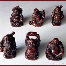 Antigüedades: BUDA DE LA SUERTE LOTE DE 6 FIGURAS. Lote 175441407