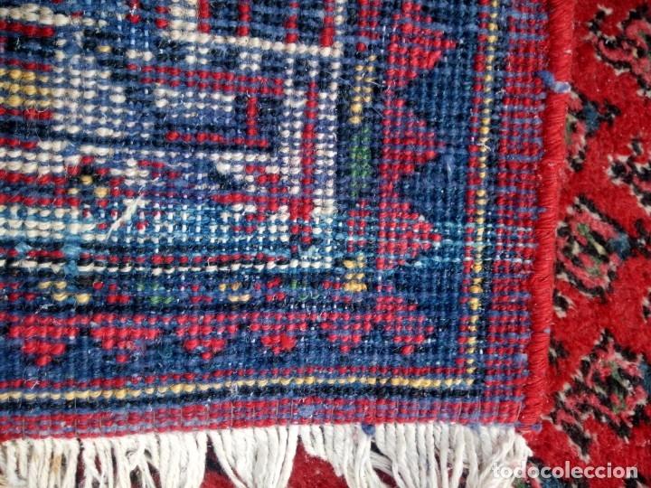 Antigüedades: Antigua alfombra persa DE LANA PURA HECHA AMANO,en tonos rojos azules y blancos - Foto 8 - 175454802