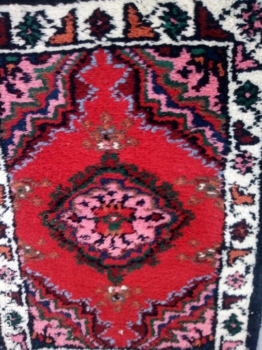 Antigüedades: Antiguo felpudo persa de lana pura hecho a mano. - Foto 4 - 175457044