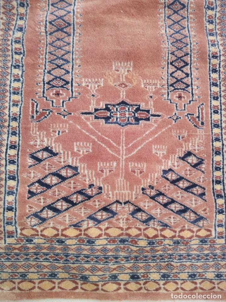 Antigüedades: Antigua alfombra persa de lana pura hecha a mano,en tonos salmón y azules,alfombra fina - Foto 4 - 175457542