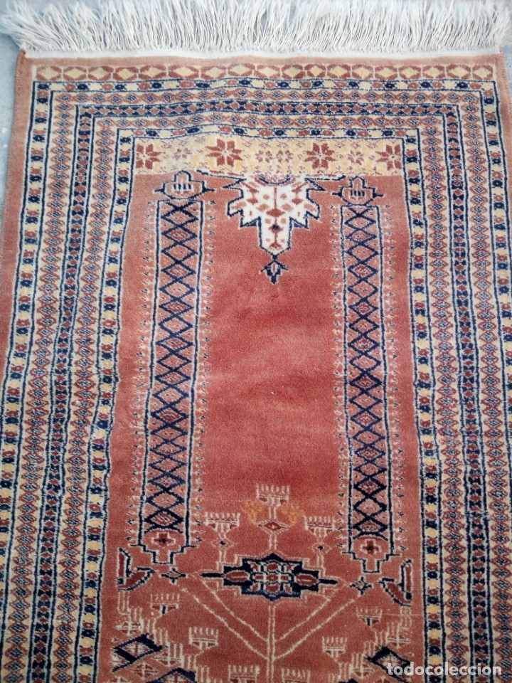 Antigüedades: Antigua alfombra persa de lana pura hecha a mano,en tonos salmón y azules,alfombra fina - Foto 5 - 175457542