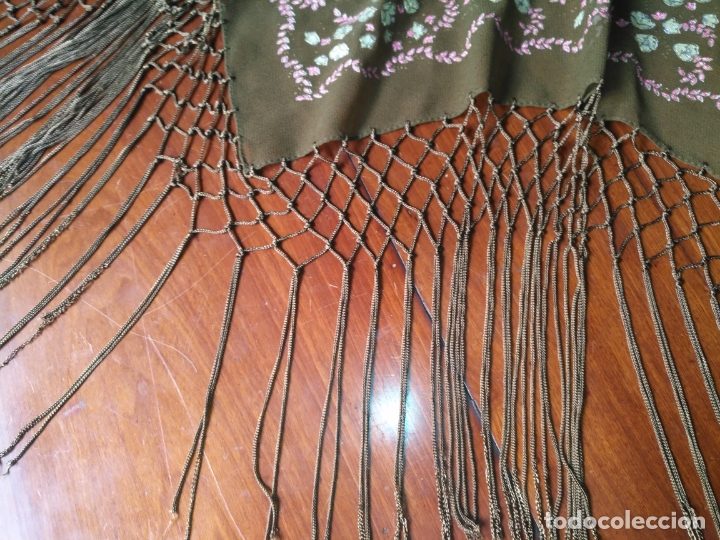 Antigüedades: manton mantoncillo pintado a mano con flecos - Foto 4 - 175457935