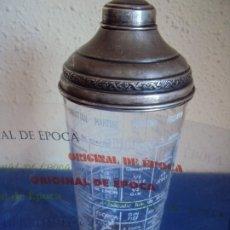 Antigüedades: (ANT-190908)COCTELERA DE CRISTAL SOPLADO. TAPA Y BASE DE PLATA. CIRCA 1950. Lote 175500569