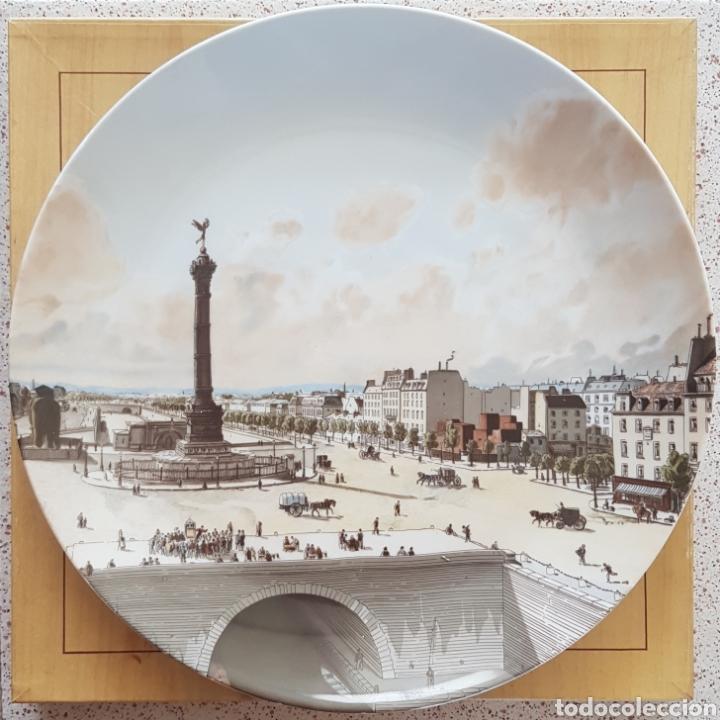 PLAZA DE LA BASTILLA, PARÍS - PLATO EN PORCELANA DE PARÍS.26CM. (Antigüedades - Hogar y Decoración - Platos Antiguos)