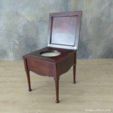Antigüedades: ANTIGUA SILLA ORINAL DE CAOBA. INGLATERRA BRISTOL 1850 - 1880. Lote 175528908