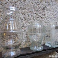Antigüedades: BELLO CONJUNTO DE 3 FRASCAS TARROS JARRONES VIDRIO DE LOS 5O'S, 25CM EL MAYOR, LA HABANA + INFO 1S. Lote 175539535