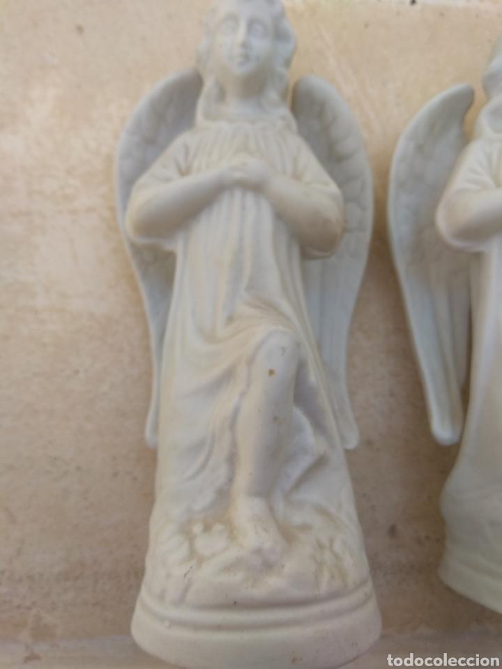 Antigüedades: Pareja de Ángeles de Porcelana Biscuit - Leer Descripción - - Foto 3 - 175543209