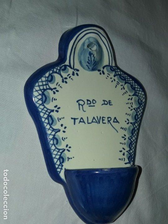 Antigüedades: Preciosa benditera cerámica Bermejo Talavera - Foto 4 - 175553478