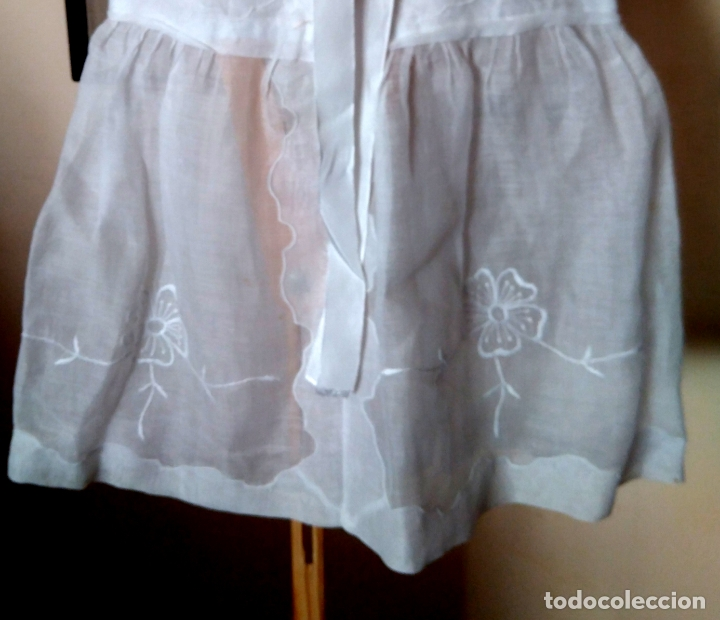 Antigüedades: Vestido infantil´organdí bordados y cinta hechura modista - h, 1930-50 - Foto 3 - 175553899