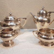 Antigüedades: JUEGO DE CAFÉ Y TÉ PLATA INGLESA PUNZONADA / GLASGOW, PLATERO EDWARD & SONS AÑO 1915. PESO 1.835 GR. Lote 175556358