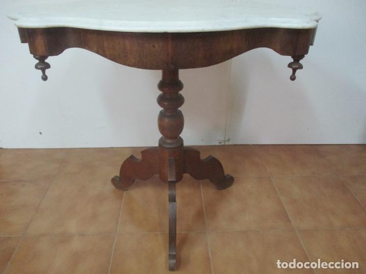 Antigüedades: Mesa de Centro Isabelina - Madera Caoba - sobre en Mármol de Carrara - S. XIX - Foto 2 - 175562650