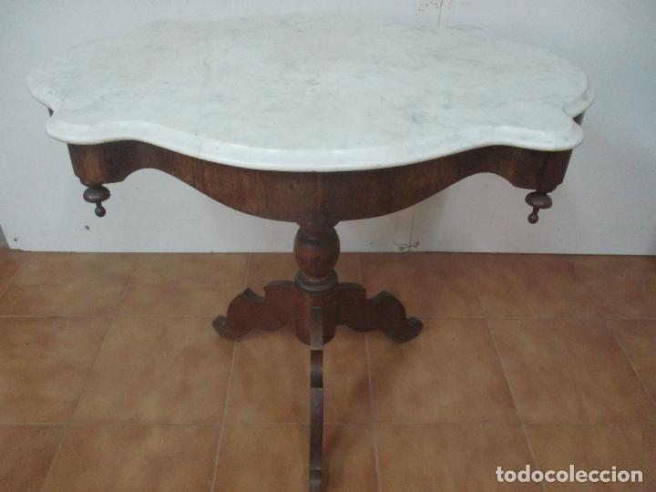 Antigüedades: Mesa de Centro Isabelina - Madera Caoba - sobre en Mármol de Carrara - S. XIX - Foto 3 - 175562650