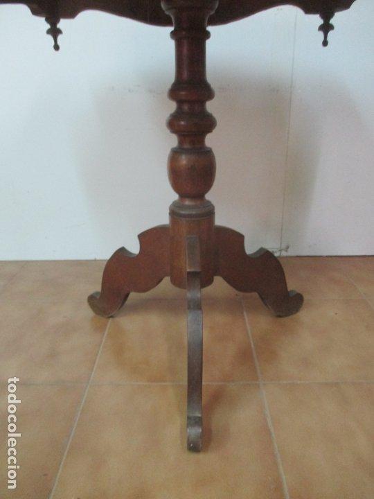 Antigüedades: Mesa de Centro Isabelina - Madera Caoba - sobre en Mármol de Carrara - S. XIX - Foto 5 - 175562650