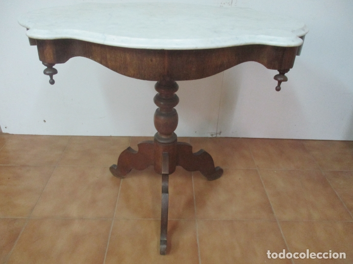 Antigüedades: Mesa de Centro Isabelina - Madera Caoba - sobre en Mármol de Carrara - S. XIX - Foto 9 - 175562650